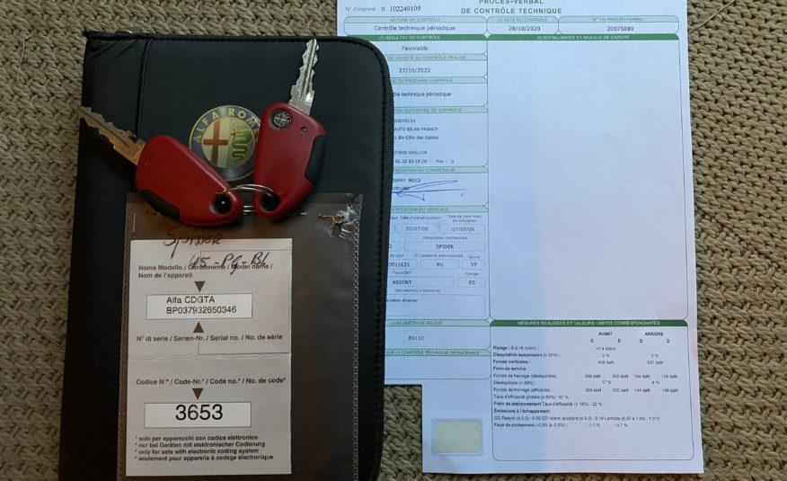 """ALFA ROMEO SPIDER 2.0L JTS 165 CH TYPE 916  """"GRIGIO CHIARO"""" CAPOTE ET CUIR BLEU 1181 EXEMPLAIRES"""