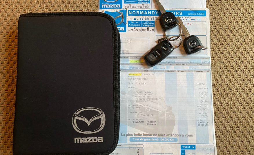 "MAZDA MX5 1.6L 110 CH SERIE LIMITEE ""ETNA""1 PROPRIETAIRE 39300 KMS CERTIFIES 250 EX FRANCE!! OPTION"